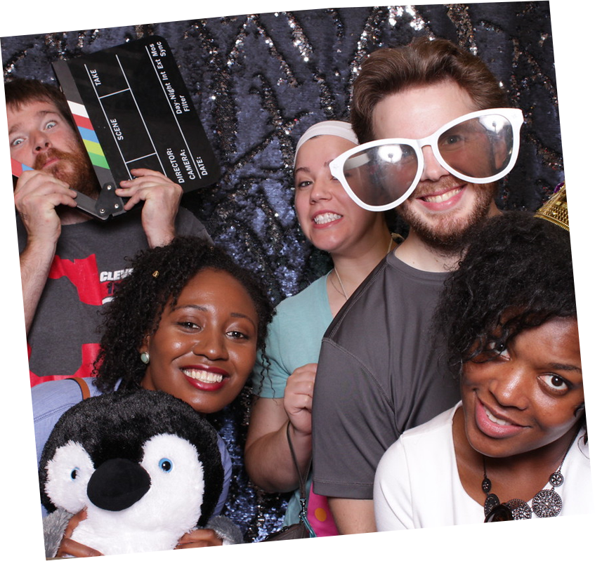 Five event guests in photo booth