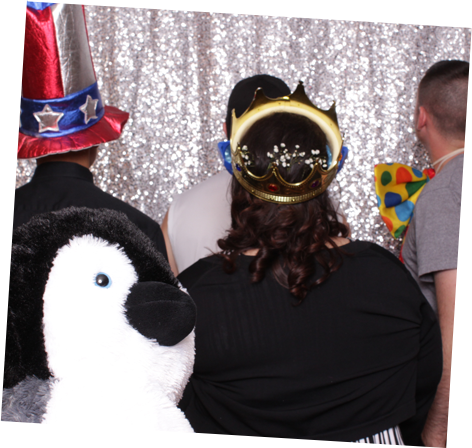 Photo booth guests and our mascot
