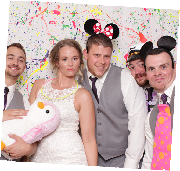 Wedding Photo Booth Rental against a Custom Backdrop