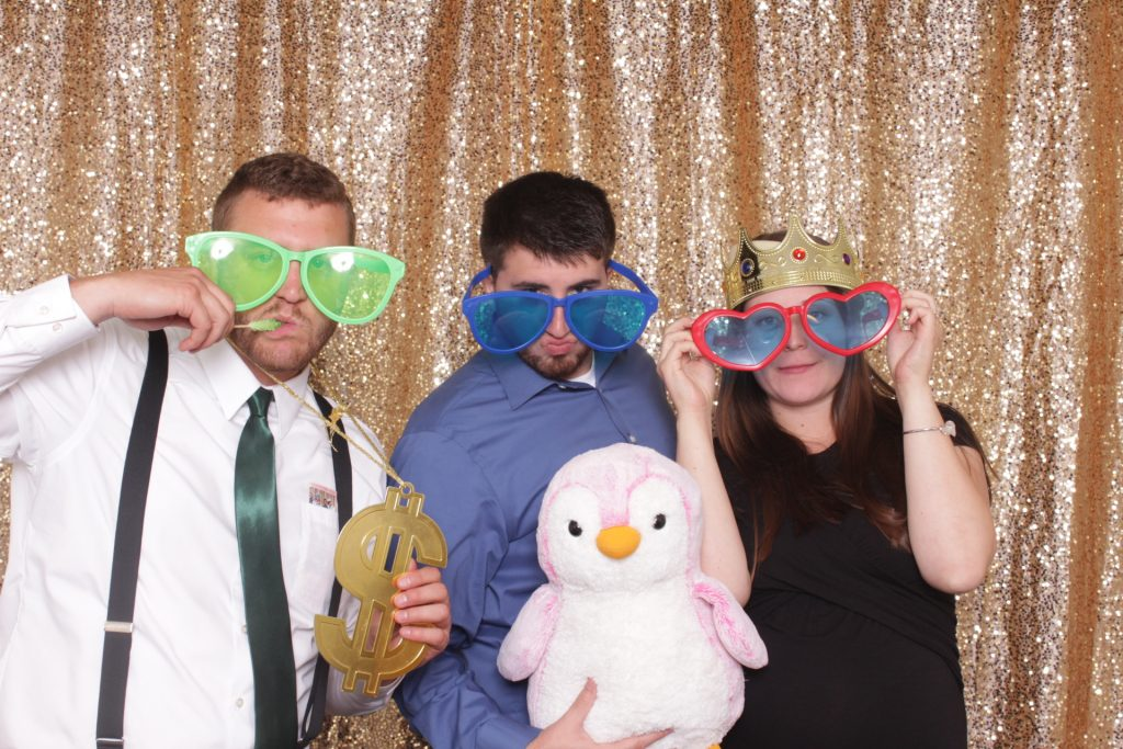 Photo Booth rental, gold sequin backdrop