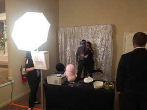 Silver backdrop in open air photo booth at toledo event