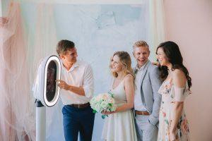 selfie station at a wedding